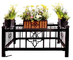 Curb Allure deluxe tree guard with centered	 Elower panel, pickets & garden planters