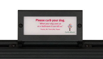 Curb Allure tree guard accessories: pet reminder sign